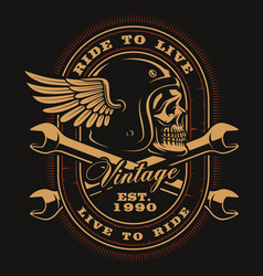 Vintage biker skull with crossed wrenches vector