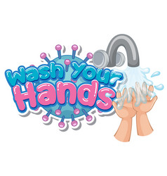 Wash your hands poster design with hands and water vector