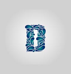 Water splash letter d logo icon droplets vector