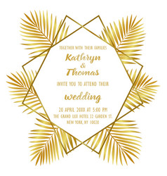 Wedding luxury tropical invitation card vector