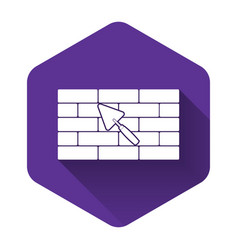 White brick wall with trowel icon isolated with vector