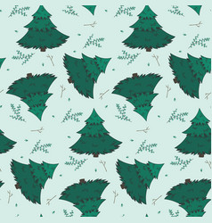 winter pattern with fir branches and snowflakes vector image