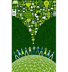 Green people eco World vector image vector image