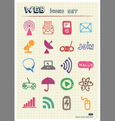 Internet media and network web icons set vector image