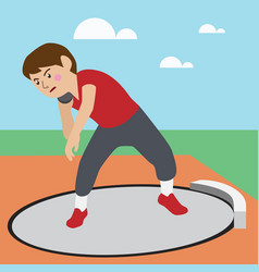 shot-put athletic sport cartoon set vector image vector image