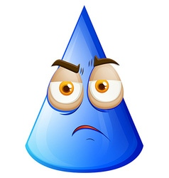 Blue cone with sad face vector image vector image