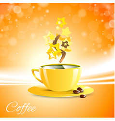 coffe good morning with yellow cup vector image