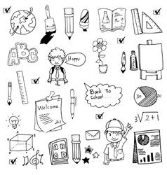 Hand draw doodle set school vector image