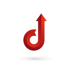 Letter d arrow ribbon logo icon design template vector