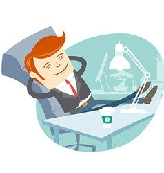 Office man sitting with feet on his working desk vector image