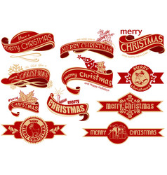 red christmas banner set vector image vector image