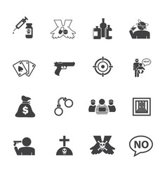 simple drug and crime icons set flat design vector image
