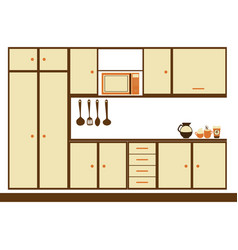color silhouette with modern kitchen cabinets vector image vector image