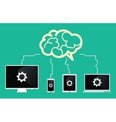 devices connect to brain vector image vector image