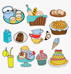 different kind of food and dessert doodle style vector image vector image