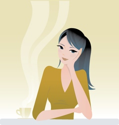 girl sitting with coffee vector image vector image