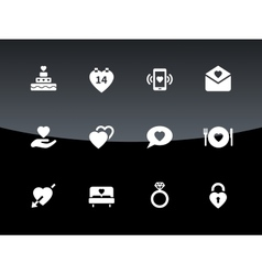 Love and romantic icons on black background vector image