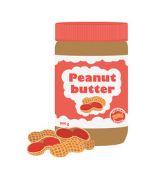 peanut butter with peanuts cartoon flat style vector image