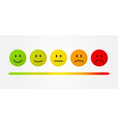 Set 5 faces scale - smile neutral sad - isolated vector image vector image