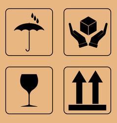 set of fragile symbols vector image