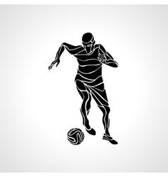 Soccer player kicks the ball Black silhouette vector image