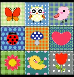 Background with heart flower mushrooms and birds vector image vector image
