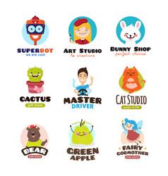 Cartoon mascots set kids logo templates vector