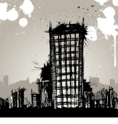grunge city drawing vector image vector image