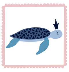 lovely of a turtle in the crown vector image vector image