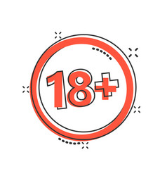 18 plus icon in comic style adult only cartoon vector