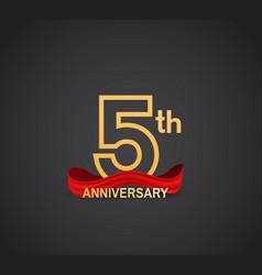5 anniversary logotype design with line golden vector