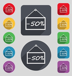 50 discount icon sign A set of 12 colored buttons vector image vector image
