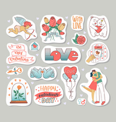 a set elements for valentines day sticker in vector image