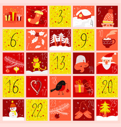 advent calendar in doodle style christmas vector image