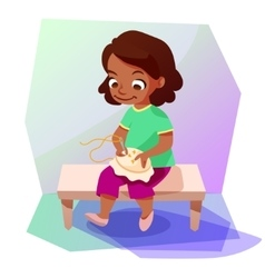 African american girl doing a cross stitching vector