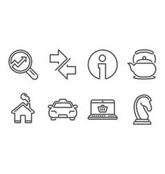 Analytics taxi and teapot icons synchronize vector