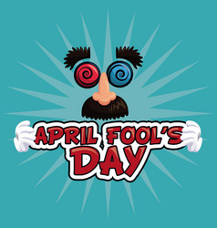 april fools day lettering face funny vector image