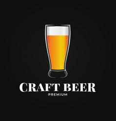 beer glass logo craft beer on black background vector image