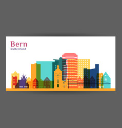 bergen city architecture silhouette colorful vector image