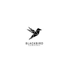 Bird logo geometric line outline monoline vector