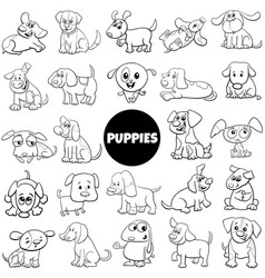 black and white cartoon puppy dog characters big vector image