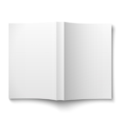 Blank softcover book template spread out on white vector