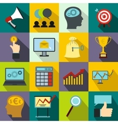 Business banking and office icons set flat style vector