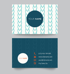 Business card template blue and white pattern vector image
