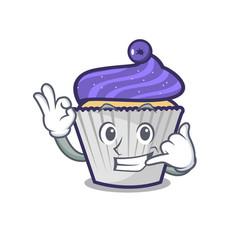 Call me blueberry cupcake mascot cartoon vector