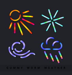 cartoon jelly gummy worms set colorful elements vector image