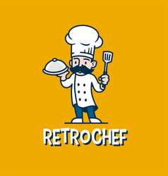 chef retro mascot cartoon logo icon vector image