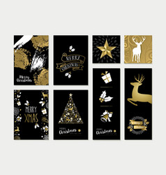 Christmas and new year gold card template set vector image