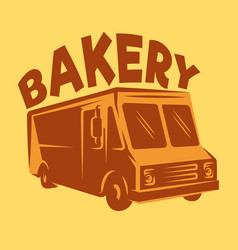 color template van for delivery bakery vector image