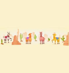 cute artistic lamas character hand drawn panorama vector image